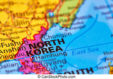 North Korea on the Map - North Korea, Asian Country on the...