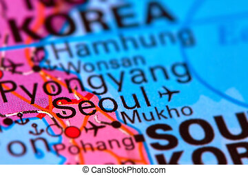 Seoul, Capital City of South Korea on the Map