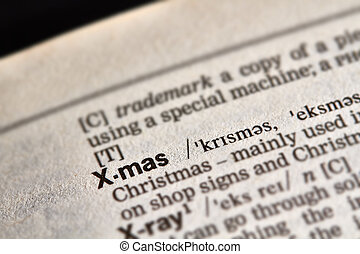 X-mas Word Definition Text in Dictionary Page