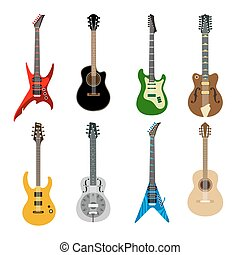 Acoustic and electric guitars icons