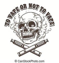 E-cigarette logo template with skull. Vape label or vape...