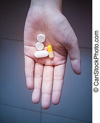 Some of pill on hand