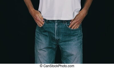 Man Turns the Empty Pockets of His Jeans No Money Man...