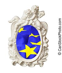 european union or eu flag in a image frame isolated in white...