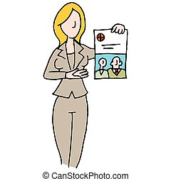 Branded document saleswoman - An image of a saleswoman...