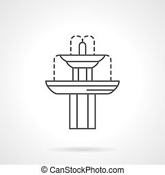 Classic fountain flat line vector icon - Exterior decoration...