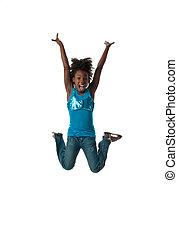 女の子, 跳躍, 幸せ
