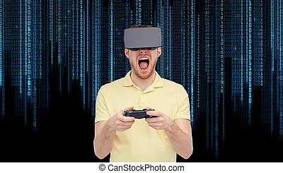 angry man in virtual reality headset with gamepad - 3d...