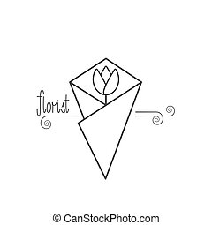 Flower shop logo vector. Florist. Hand drawn lettering