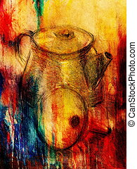 Drawing tea kettle on old paper. Original hand draw and...