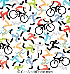 Triathlon icons background - Background with icons of...