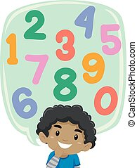Little Boy thinking of Number Set