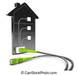 FTTB, Fiber To The Building - 3D illustration of a FTTB...