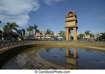 ASIA THAILAND ISAN AMNAT CHAROEN - the clock tower in the...