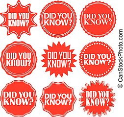 Did you know red label.Did you know red sign. Did you know red banner. Vector illustration