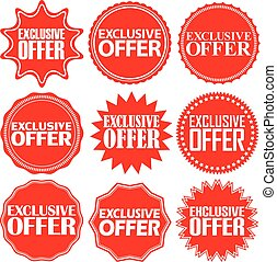Exclusive offer red label. Exclusive offer red sign. Exclusive offer red banner. Vector illustration