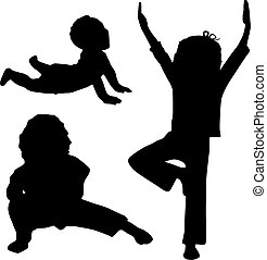 Child\'s yoga - Silhouette of children who play yoga