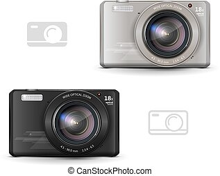 digital camera - realistic digital camera, black and gray,...