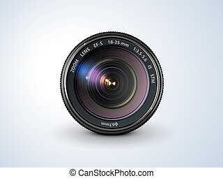camera lens - lens reflex camera, realistic, on a plain...