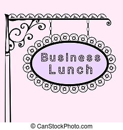 business lunch retro vintage street sign - business lunch...