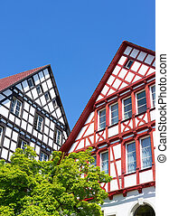 Half-timbered houses - Gables of two German half-timbered...