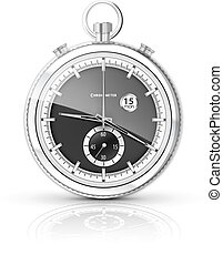 chrome chronometer - realistic chronometer on a white...