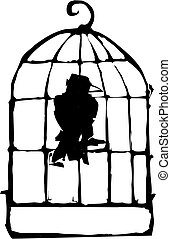 Bird in Cage - Bird sitting in a Birdcage crow or raven