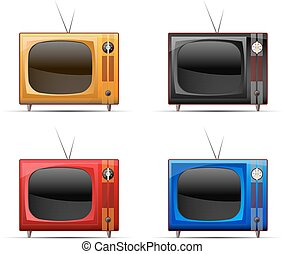 television - four icons of the old TV sets of different...