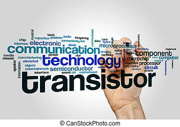 Transistor word cloud concept with technology component...