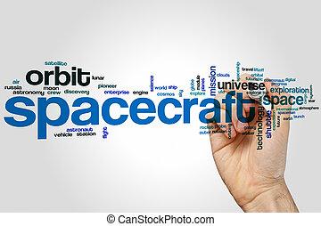 Nave espacial, palabra, nube,