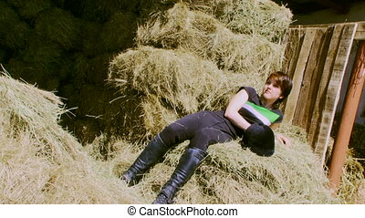 The girl in the hay