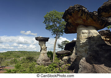 ASIA THAILAND ISAN UBON RATCHATHANI - the stone formation in...