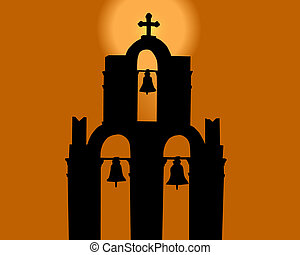 belltower - Silhouette of a belltower against the orange sky