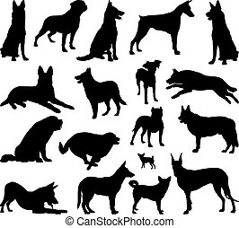 Dog silhouette vector - Illustration of dog breeds, black...