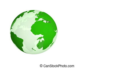 Green Planet Earth spinning isolated on white background.