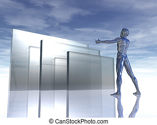 glass - chrome man figure with wide open arms and abstract...
