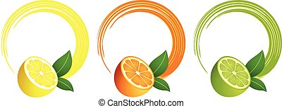 Citrus fruit round frame - Scalable vectorial image...