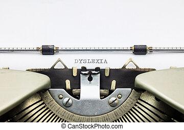 Dislexia, palabra, en, capital, Cartas, en, blanco, hoja,