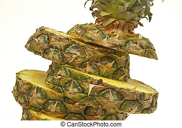 A close look at slices of fresh pineapple