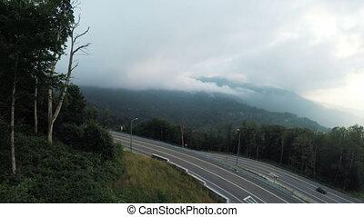 Mountain road from ski lift