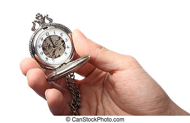 pocket watch hold by hand