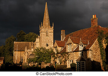 Lacock church - 15th century medieval St Cyriac church in...
