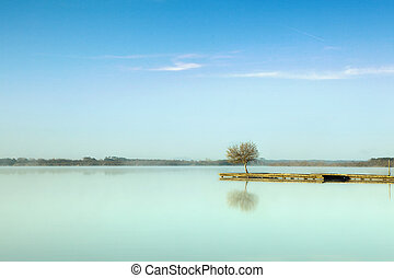 Serenity - Rustic jetty on a zen-like idyllic lake in...