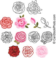 Roses with leaves set isolated on white background, vector...