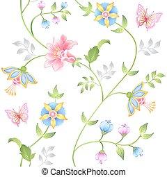 Decor floral elements seamless set