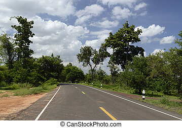ASIA THAILAND ISAN AMNAT CHAROEN - a road near the city of...