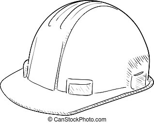 Construction Hard Hat - Hand-drawn vector drawing of a...