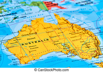 Australia on the Map - Australia Continent and Country on...