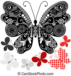 Set abstract vintage butterflies for design on white...