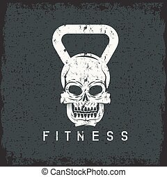 grunge skull in the form of kettlebell fitness concept